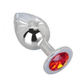 Большой плаг из стали с красным кристаллом Red Flame - 9,5 см.