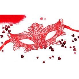 """Красная ажурная текстильная маска """"Марлен"""""""