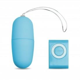Голубое виброяйцо с пультом управления - 7 см.
